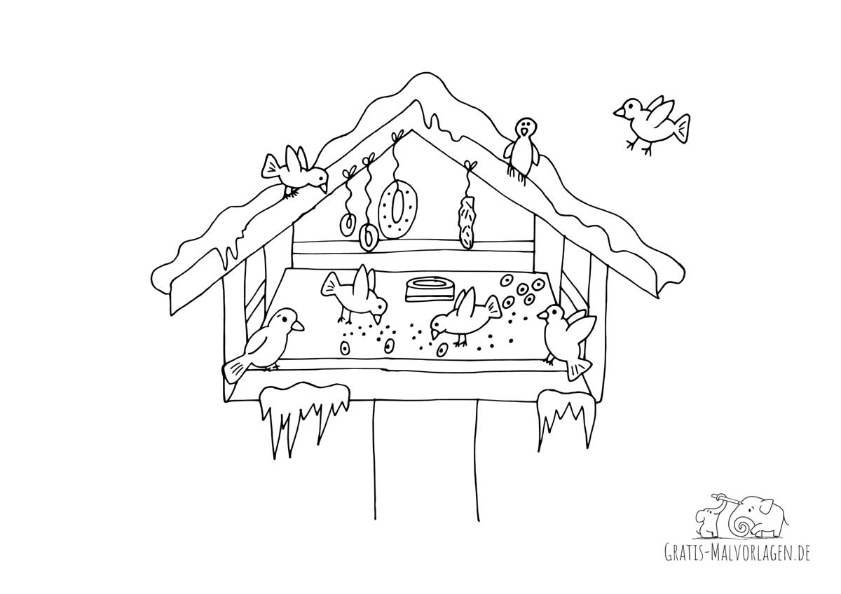 Ausmalbild Vogelhaus im Winter