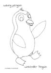 Ausmalbild waving penguin – winkender Pinguin