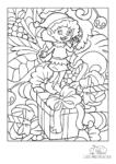 Ausmalbild Weihnachtselfe freut sich über Geschenke und Blumen
