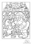 Ausmalbild Weihnachtsmann schenkt Kinderelfe eine Puppe vor dem weihnachtlichen Kamin