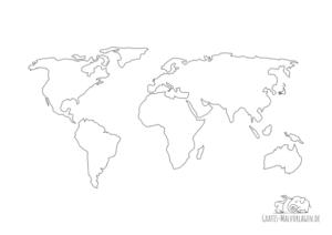 Ausmalbild Weltkarte Umrisse Ländergrenzen