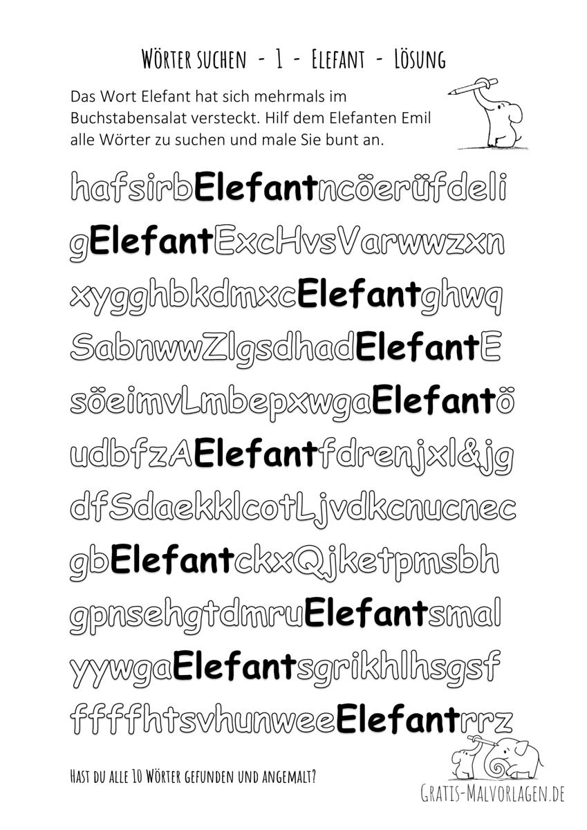 Ausmalbild Wörter suchen 1 Elefant Lösung