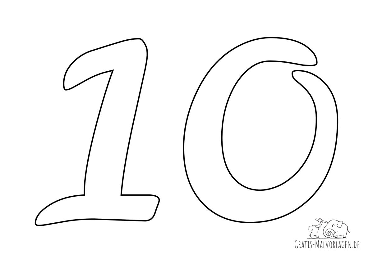 Ausmalbild Zahl 10