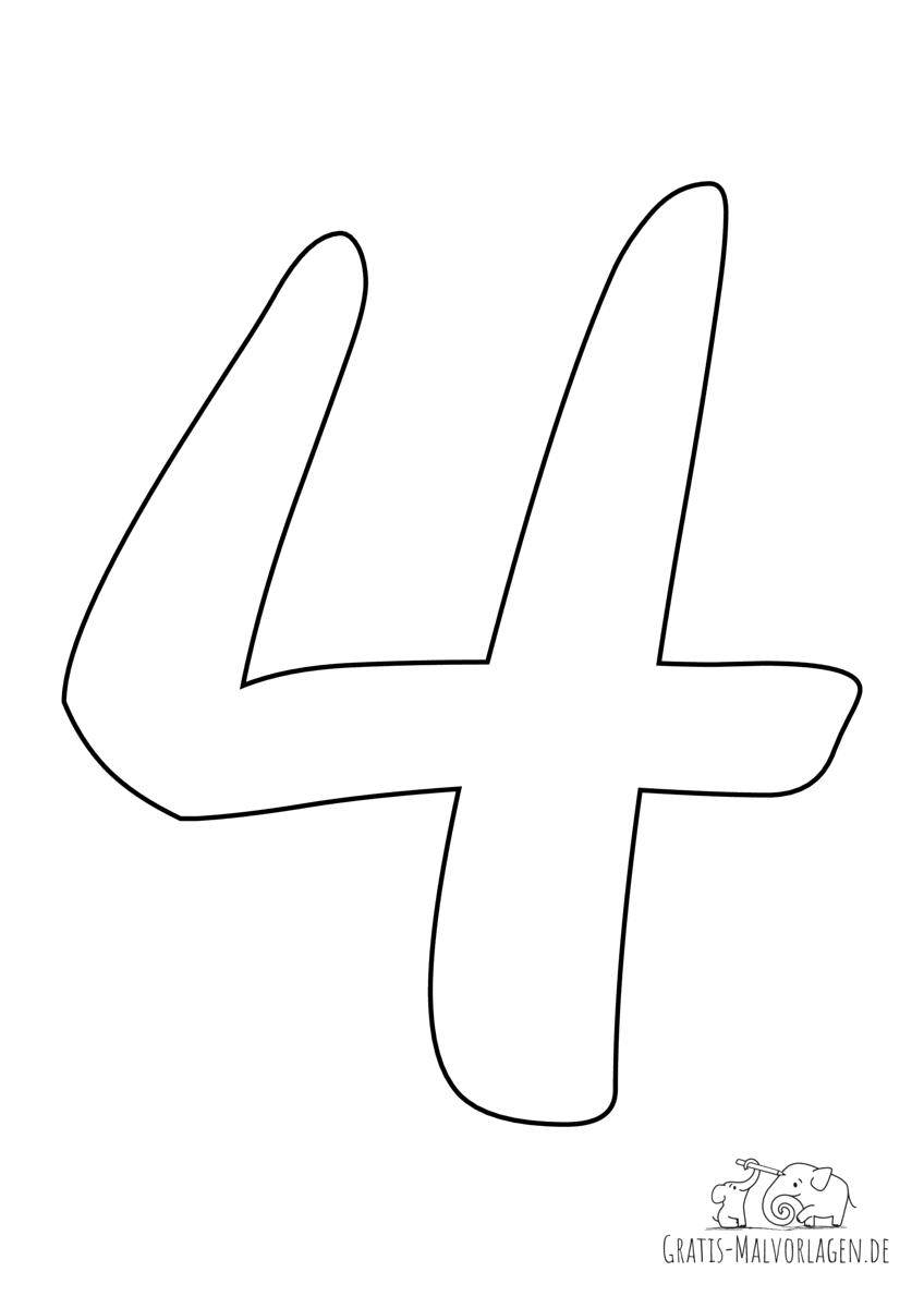 Ausmalbild Zahl 4
