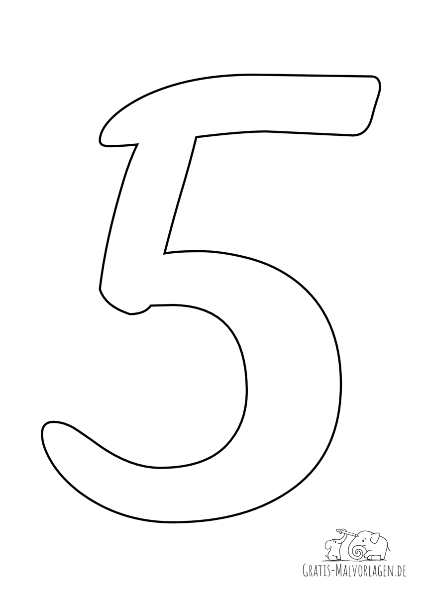 Ausmalbild Zahl 5