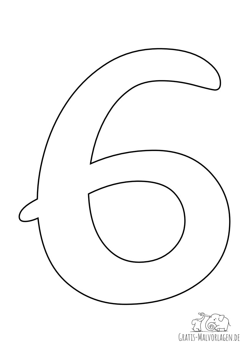 Ausmalbild Zahl 6