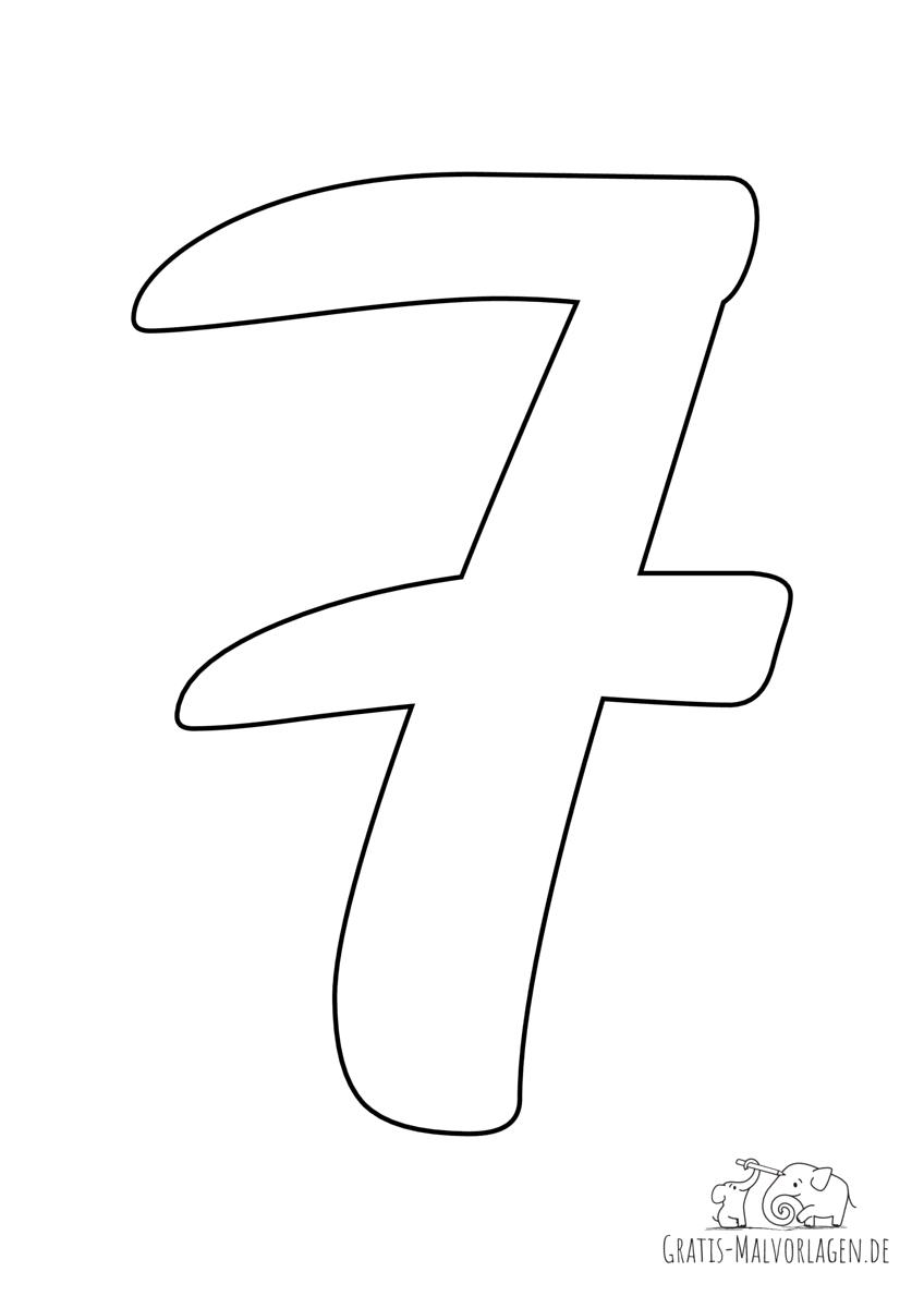 Ausmalbild Zahl 7