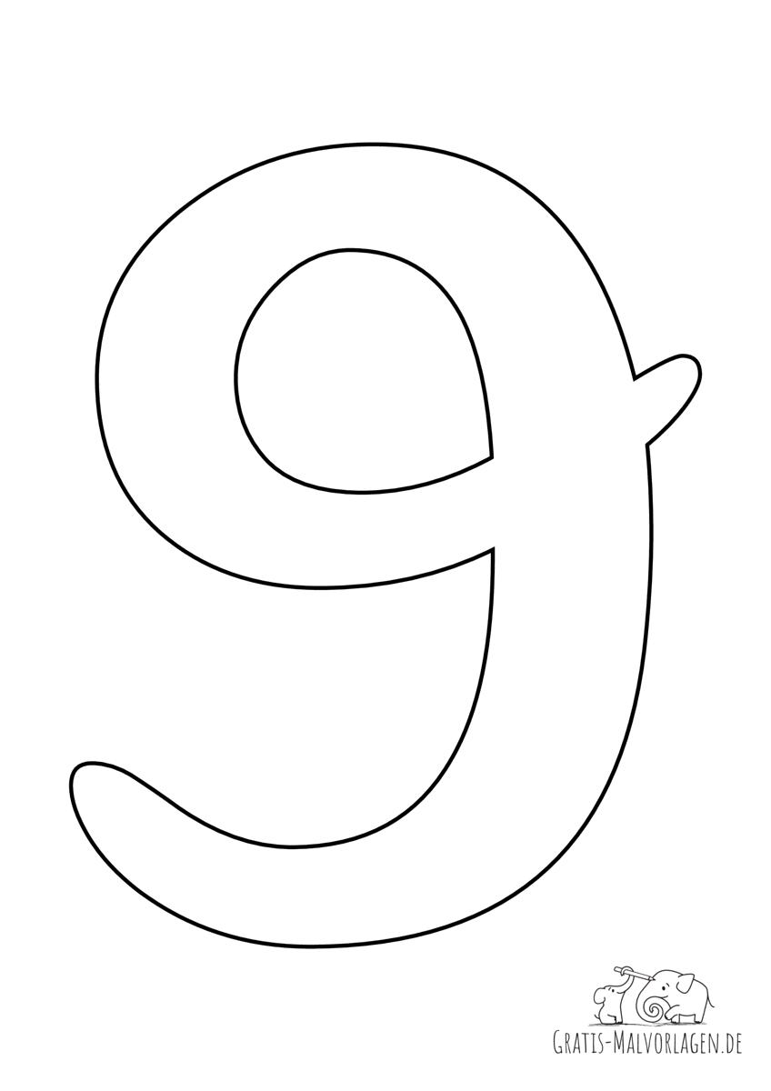 Ausmalbild Zahl 9