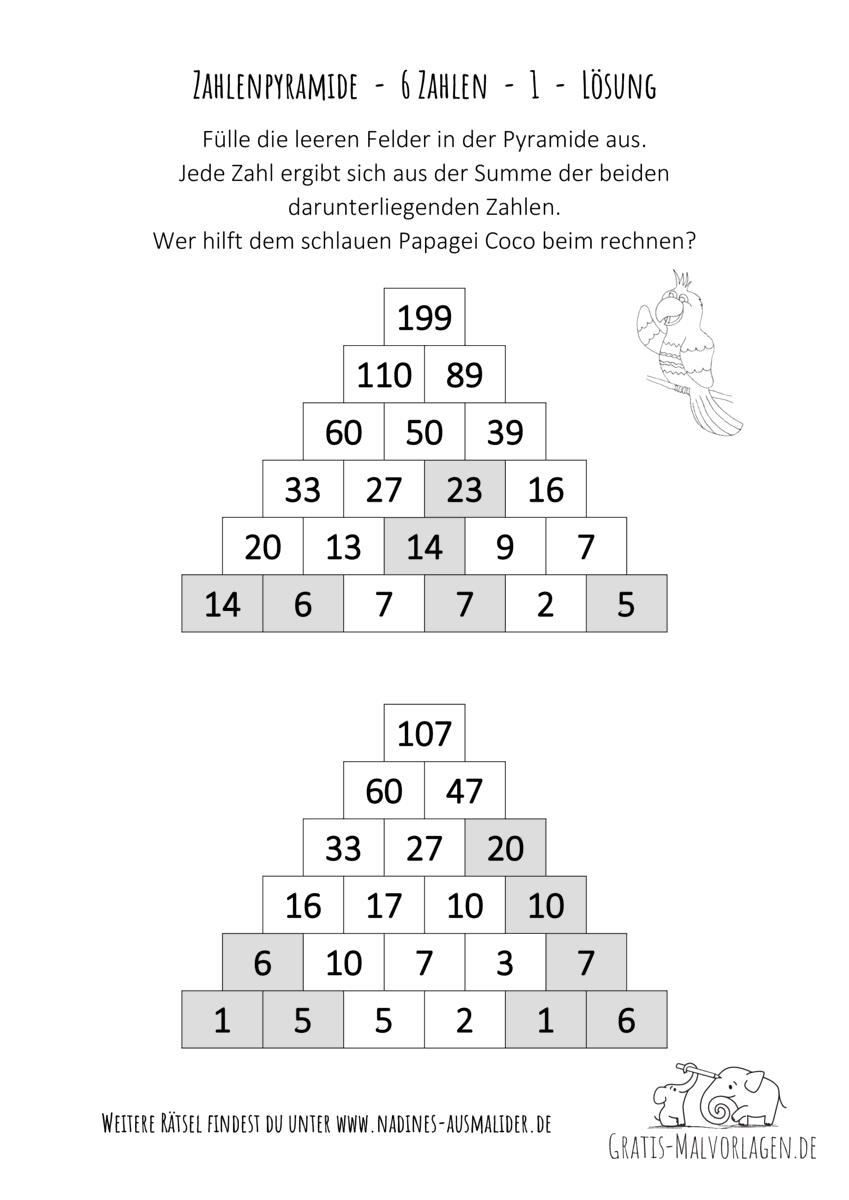Zahlenpyramide 6 Zahlen 001 Lösung