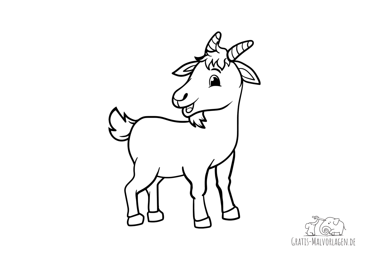 Ausmalbild Ziege mit kleinen Hörnern