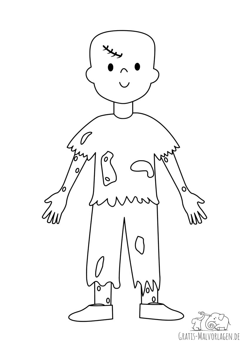 Ausmalbild Zombietyp
