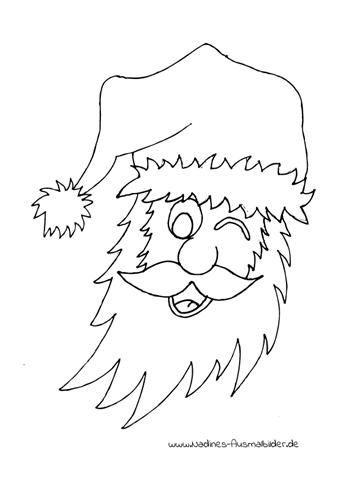Ausmalbild Zwinkernder Nikolaus